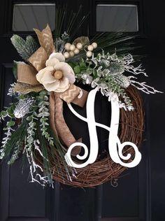 Glamorous Golden Winter Wreath  Wreath  Magnolia by jennyCmoon