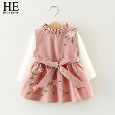 - Beautiful and adorable dress for your little Beauties - Material: Polyester,Cotton - Decoration: Embroidery - Pattern Type: Floral - decoration: Bow