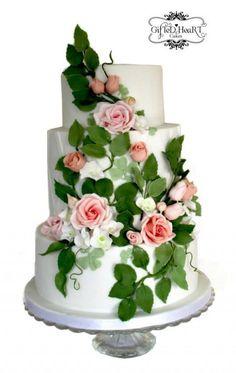 Rose Trellis Wedding Cake ~ all sugar roses