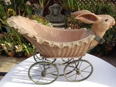 Large RABBIT BUGGY CARRIAGE WICKER METAL FRAME  #unknown
