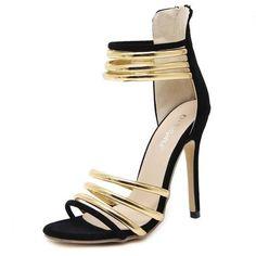 Black Open Toe Hollow Stiletto Heels Sandals For Women - TheCelebrityDresses