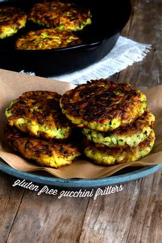 Gluten Free Zucchini Fritters - Can substitute all purpose flour if you don't need gluten free. Also, add some feta and fresh mint for a nice twist.