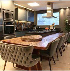Table idea Kitchen Room Design, Modern Kitchen Design, Home Decor Kitchen, Kitchen Living, New Kitchen, Interior Design Living Room, Home Kitchens, Kitchen Ideas, Kitchen Designs