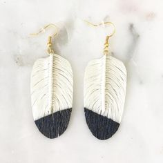 Handmade Color Dipped Feather Earrings // White & Black Feather Earrings, Ava, Berry, Handmade, Color, Black, Jewelry, Hand Made, Colour