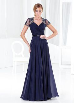 Elegant Tulle & Chiffon A-line Queen Anne Neckline Full-length Mother of the Bride Dress