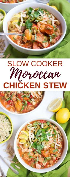 This Slow Cooker Moroccan Chicken Stew is packed with warm spices, briny olives, sweet apricots, and tender, flavorful chicken and veggies! It's perfect for an easy weeknight meal - just set it in the slow cooker and come home to a cozy, hearty, and satisfying dinner!