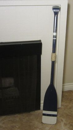 Nautical Beach Cottage Canoe Kayak Paddle Oar in Distressed Peaceful Night Blue and Whisper White stripes 48 in. Painted bottom on Etsy, $52.95