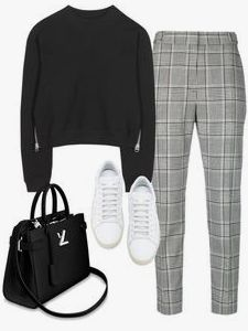 Square pants + black knit sweater + white All Star knitwear - Outfits & Beauty - Mode Outfits, Outfits For Teens, Fall Outfits, Casual Outfits, Fashion Outfits, Fashion Ideas, Fashion Clothes, Club Outfits, Hijab Fashion