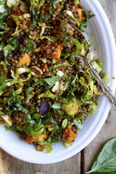 french lentil & roasted vegetable salad