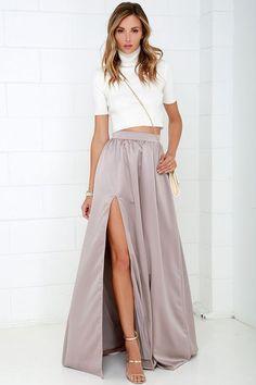 'Twas a Dream Taupe Maxi Skirt//
