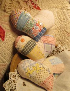 3 Soft Hearts ~ Handmade from Vintage Wedding Ring Quilt ~ Valentine's Ornies