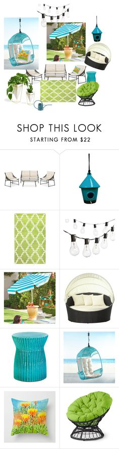 """""""Perfect Summer Backyard"""" by kavitaarts on Polyvore featuring interior, interiors, interior design, home, home decor, interior decorating, Alpine, nuLOOM, Crate and Barrel and Grandin Road"""