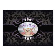vintage purple damask  floral teacup Tea Party Invitations