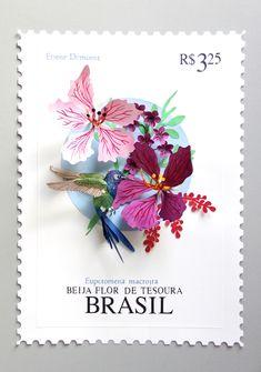 Diana Beltran Herrera artist recreates delicate bird stamps in large 3D scale.