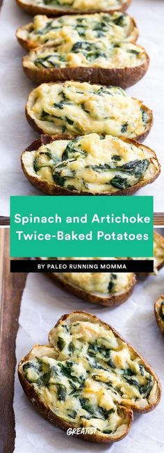 Spinach and Artichoke Twice-Baked Potatoes Baked potatoes don't have to be stuffed with meat to be filling. These guys are filled to the brim with spinach, artichoke hearts, coconut cream, and all the garlic. So go ahead, get starchy.