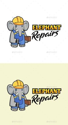 Cartoon Elephant Repair Character Mascot Logo - Animals Logo Templates Get it now!! #logo #designlogo #logos #logodesign #logopremium #brand #branding #business #company #abstract #creative #mascot #designoflogo #thelogo #thedesign #logotemplate #print #logocompany #logoesport #logoanimal #logoabstract #envato #envatomarket #graphicriver #premiumdesign #creativemarket #freepik #shutterstock #behance #dribbble