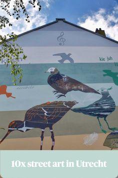 Top 10 street art in Utrecht   Utrecht heeft een aantal fantastische street art-kunstenaars. Daarom struikel je in ons stadsie over de meest uiteenlopende kunstwerken, meestal op muren, soms ook op op  prullenbakken, lantaarnpalen of bushokjes.. Het ene nog indrukwekkender dan het andere. We delen graag onze top 10!