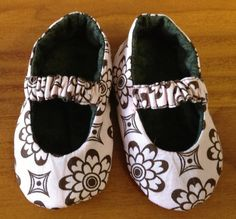 Baby Shoes Fabric Handmade very cute. Pink and Brown Size 3 - 6 months. $28.50, via Etsy.