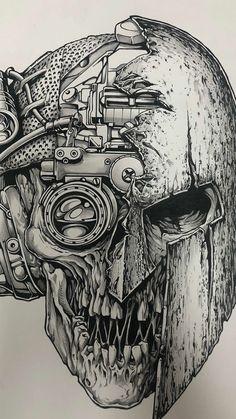Dark Drawings, Cool Art Drawings, Art Drawings Sketches, Tattoo Sketches, Tattoo Drawings, Grimes Artwork, Arte Viking, Sketch Tattoo Design, Skull Artwork