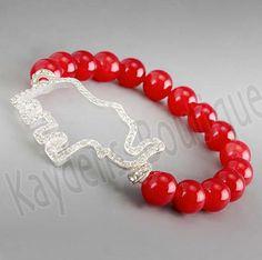 Delta Sigma Theta Inspired Crystal Clear Stone Elephant Charm Bracelet