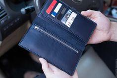 Купить Кошелек (Портмоне) - тёмно-синий, портмоне, купюрник, кошелек, стильный, подарок, ручная работа