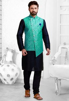 Printed Art Silk Asymmetric Nehru Jacket in Light Teal Green