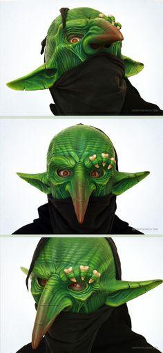 Goblin mask 0.1by~DenisPolyakov    Goblin mask is made of high-strength composite materials and plastics. Resists strong shocks. Securely on the head of the owner. Resistant to abrasion colored inks.In these photos, wearing a mask on my head.