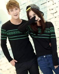 CC00297 Korean style couple clothes long sleeve T-shirt