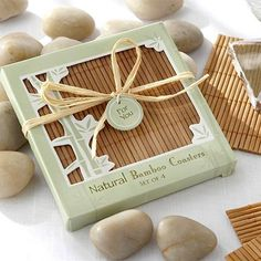 Give the gift of lucky bamboo with these eco-friendly natural bamboo coaster favors. These practical coasters are perfect for any Asian or eco-friendly event.
