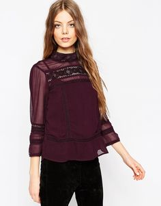 ASOS Lace Insert Victoriana Top