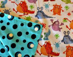 Handmade baby blanket, monsters with glow in the dark backing, cute top stitching, baby boy, nursing cover, swaddling blanket, receiving blanket, shower gift, new baby gift