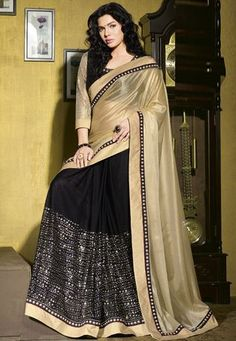 Golden Faux Georgette Shimmer and Faux Georgette Saree with Blouse - blouses, boho, outfits, black, flower, loose blouse *ad