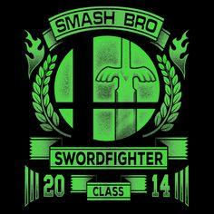 """Swordfighter Class"" by Punksthetic is $10 today at ShirtPunch.com (02/20). #tshirt #SmashBros #sm4sh #MasterSword #ssb"