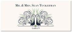 Peacock Flourish Wedding Place Card