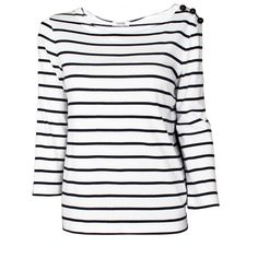 Sonia by Sonia Rykiel Striped 3/4 Sleeve Tee ($130) ❤ liked on Polyvore featuring tops, t-shirts, shirts, 3/4 length sleeve t shirts, cotton tee, three quarter sleeve shirts, nautical striped tee and stripe tee