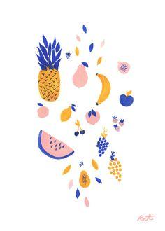 fruit print . tutti fruiti salad // fruit watercolor illustration