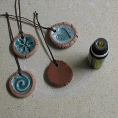 Tikin world- Unglazed clay is porous and holds oil. Pour a few drops essential oil and hang where desired