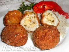 Kijevi csirkegolyó recept Diabetic Recipes, My Recipes, Diet Recipes, Chicken Recipes, Croatian Recipes, Deli, Baked Potato, Food And Drink, Lunch