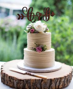 Monogram Cake Toppers, Wooden Cake Toppers, Rustic Wedding Cake Toppers, Personalized Wedding Cake Toppers, Small Wedding Cakes, Elegant Wedding Cakes, Wedding Cake Designs, Elegant Cakes, Cake Wedding