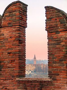 Verona, italy  (Swallow tails on the buildings  indicate loyalty to the government. Square indicates loyalty to the Pope)