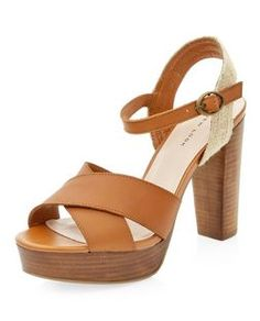 Tan Leather Cross Strap Platform Block Heels  | New Look