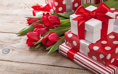 Download wallpapers Valentines Day, gifts, red silk ribbons, red tulips, red bow