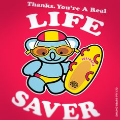 #smilingbear #smilemore #koala #koalabear #bear #smile #smiling #happy #cute #kawaii #australia #sydney #beach #art #fashion #design #illustration #characterdesign #fun #iphonesia #japan #kawaiigurls #kawaiioftheday #photooftheday #iphoneography #iphoneonly #instafamous #ig #jj #teg #pattern #repeatpattern #lifesaver #lifeguard #swimming #surflifesaving – Thanks. You're A Real Life Saver! Smiling Bear in his budgie smugglers (swimming trunks), googles, life saver hat and paddle board.