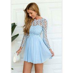 Light Blue Long Sleeve Crochet Tulle Skater Dress ❤ liked on Polyvore featuring dresses, long sleeve dresses, crochet dress, light blue dress, light blue skater dress and long-sleeve skater dresses