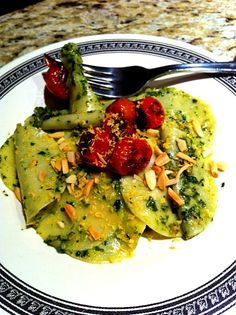Croxetti with Grilled Ramp, Almond, Meyer Lemon and Sparkenhoe Pesto