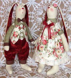 Bunnies. Boy and girl. Bunnies - bunny doll - Tilda - Rabbit Toy - Hare Toy - Fabric Bunny - Textile Bunny - Fabric Doll -Home Decoration -