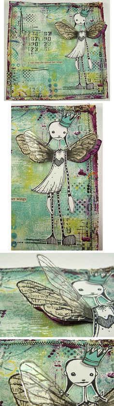 Artwork created by Trish Latimer using rubber stamps designed by Daniel Torrente for Stampotique Originals