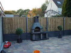 Luxe hout - betonschutting