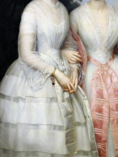 Portrait of sisters Malvina Ann Louise and Hilda Sophie Charlotte Reventlow in the forest, Detail.by August Heinrich Schiott (1823-1895)