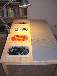 Another pinner said: Turn an Ikea table into a Lego table. We are totally doing this when we have the space. Another pinner said: Turn an Ikea table into a Lego table. We are totally doing this when we have the space. Table Lego Diy, Ikea Table, Lego Building Table, Building Ideas, Legos, Mesa Lego, Weekend Projects, Diy Projects, Old Kitchen Tables